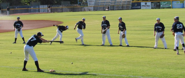 Pre-game warmup - Kyle Francis hitting grounders