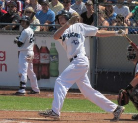 Jake Pries doubles in a run Sunday